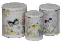 3 Butterfly Round Storage Tins ~ Carte Postale French Design
